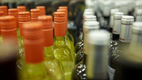 Close up of wine bottle caps