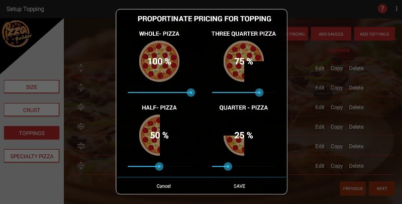 Pizza Ordering Screenshot